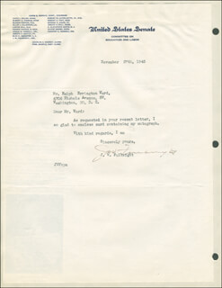 J. WILLIAM FULBRIGHT - TYPED LETTER SIGNED 11/27/1945