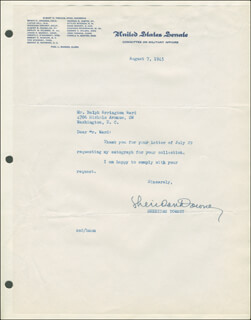 SHERIDAN DOWNEY - TYPED LETTER SIGNED 08/07/1945
