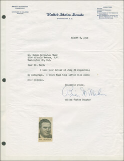 J. O. BRIEN McMAHON - TYPED LETTER SIGNED 08/08/1945