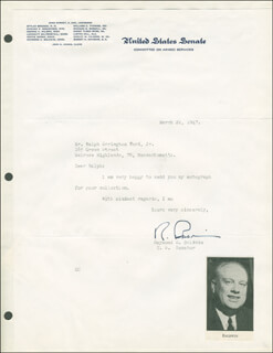 RAYMOND BALDWIN - TYPED LETTER SIGNED 03/22/1947