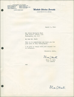 Autographs: THOMAS C. HART - TYPED LETTER SIGNED 08/01/1945