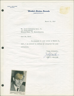 JOHN JAMES WILLIAMS - TYPED LETTER SIGNED 03/12/1947