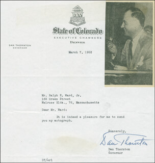 GOVERNOR DANIEL ISAAC J. THORNTON - TYPED LETTER SIGNED 03/07/1952
