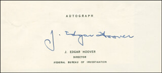 Autographs: J. EDGAR HOOVER - PRINTED CARD SIGNED IN INK