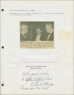 Autographs: ASSOCIATE JUSTICE WILEY B. RUTLEDGE - AUTOGRAPH NOTE ON SUPREME COURT CARD SIGNED 11/12/1948