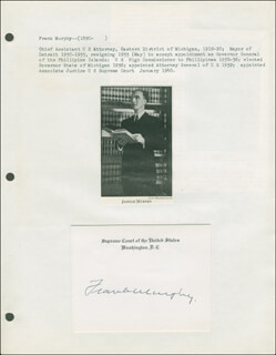 Autographs: ASSOCIATE JUSTICE FRANK MURPHY - SUPREME COURT CARD SIGNED