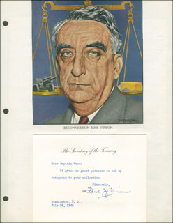 CHIEF JUSTICE FRED M. VINSON - TYPED NOTE SIGNED 07/28/1945