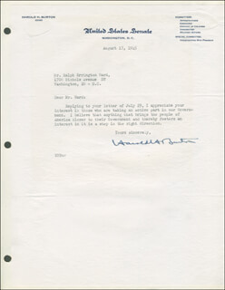Autographs: ASSOCIATE JUSTICE HAROLD H. BURTON - TYPED LETTER SIGNED 08/17/1945
