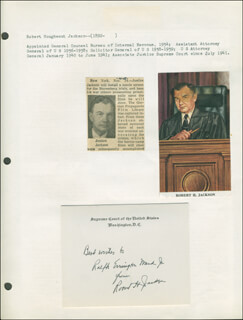 Autographs: ASSOCIATE JUSTICE ROBERT H. JACKSON - AUTOGRAPH NOTE ON SUPREME COURT CARD SIGNED