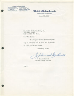 Autographs: J. HOWARD McGRATH - TYPED LETTER SIGNED 03/13/1947