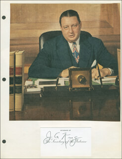Autographs: JULIUS A. KRUG - PRINTED CARD SIGNED IN INK CIRCA 1947