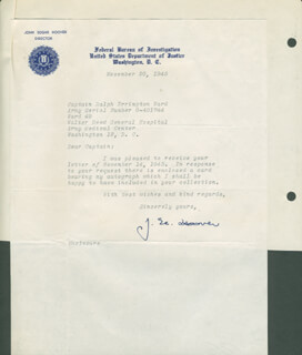 J. EDGAR HOOVER - TYPED LETTER SIGNED 11/20/1945  - HFSID 293495