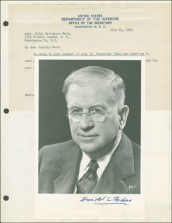 Autographs: HAROLD L. ICKES - PHOTOGRAPH SIGNED CIRCA 1945