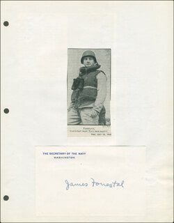 Autographs: JAMES FORRESTAL - PRINTED CARD SIGNED IN INK