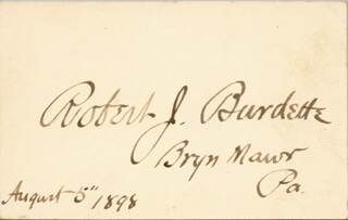 Autographs: ROBERT J. BURDETTE - SIGNATURE(S) 08/05/1898