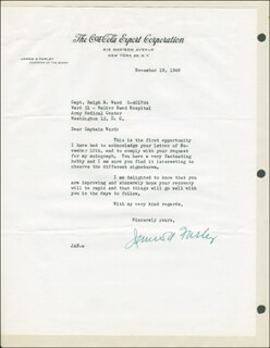 JAMES A. FARLEY - TYPED LETTER SIGNED 11/19/1945