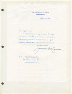 Autographs: ASSOCIATE JUSTICE JAMES F. BYRNES - TYPED LETTER SIGNED 08/15/1945