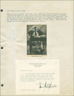 JOHN FOSTER DULLES - TYPED LETTER SIGNED 11/28/1945