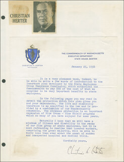 CHRISTIAN A. HERTER - TYPED LETTER SIGNED 01/25/1956