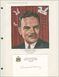GOVERNOR THOMAS E. DEWEY - PRINTED CARD SIGNED IN INK CIRCA 1945