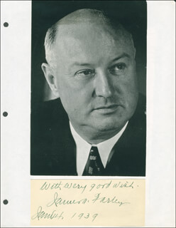 Autographs: JAMES A. FARLEY - AUTOGRAPH SENTIMENT SIGNED 01/04/1939