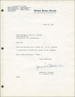Autographs: SPESSARD L. HOLLAND - TYPED LETTER SIGNED 03/13/1947