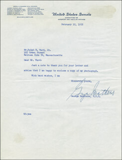 GEORGE A. SMATHERS - TYPED LETTER SIGNED 02/12/1952