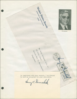 HENRY C. DWORSHAK - TYPED NOTE SIGNED