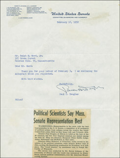 PAUL H. DOUGLAS - TYPED LETTER SIGNED 02/18/1952
