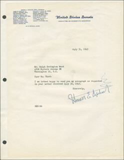 HOMER E. CAPEHART - TYPED LETTER SIGNED 07/31/1945