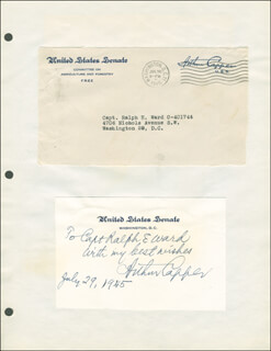 Autographs: GOVERNOR ARTHUR CAPPER - AUTOGRAPH NOTE SIGNED 07/29/1945