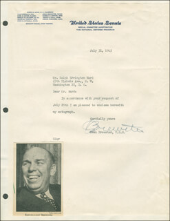 OWEN BREWSTER - TYPED LETTER SIGNED 07/31/1945
