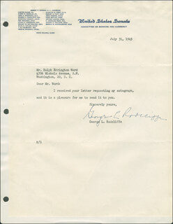 GEORGE L. RADCLIFFE - TYPED LETTER SIGNED 07/31/1945