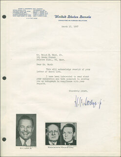 HENRY CABOT LODGE JR. - TYPED LETTER SIGNED 03/17/1947