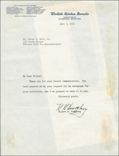 VICE PRESIDENT HUBERT H. HUMPHREY - TYPED LETTER SIGNED 06/05/1952
