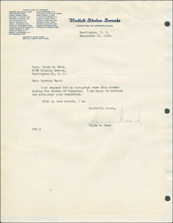CLYDE M. REED - TYPED LETTER TWICE SIGNED 09/12/1945
