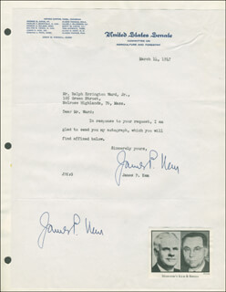JAMES P. KEM - TYPED LETTER TWICE SIGNED 03/14/1947