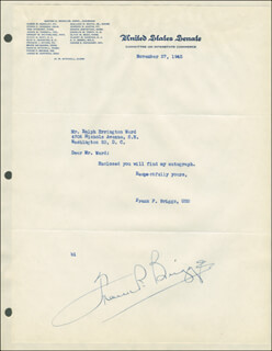 Autographs: FRANK P. BRIGGS - TYPED LETTER SIGNED 11/27/1945