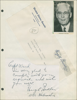 Autographs: HUGH A BUTLER - AUTOGRAPH NOTE SIGNED