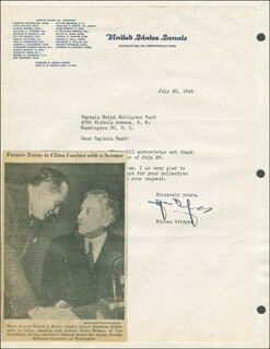 GOVERNOR HENRY STYLES BRIDGES - TYPED LETTER SIGNED 07/30/1945