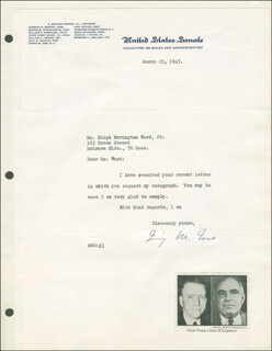 IRVING M. IVES - TYPED LETTER SIGNED 03/25/1947
