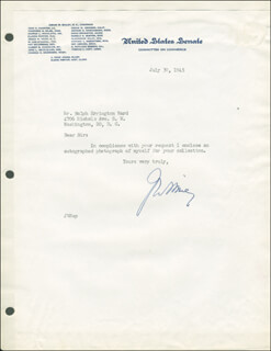 Autographs: JOSIAH W. BAILEY - TYPED LETTER SIGNED 07/30/1945