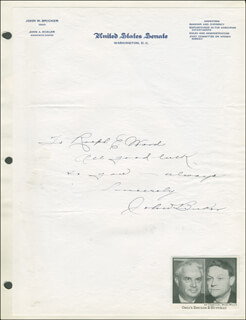 Autographs: JOHN BRICKER - AUTOGRAPH NOTE SIGNED
