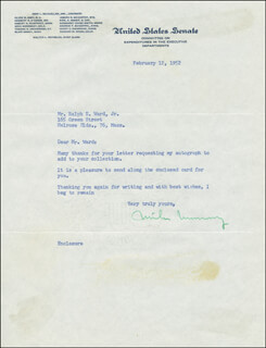 MIKE MONRONEY - TYPED LETTER SIGNED 02/12/1952