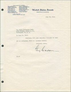 Autographs: GUY CORDON - TYPED LETTER SIGNED 07/30/1945