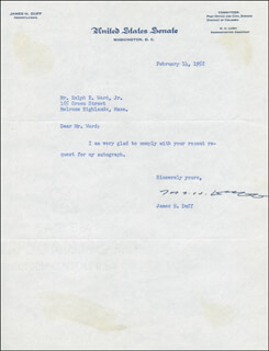 Autographs: JAMES H. DUFF - TYPED LETTER SIGNED 02/14/1952