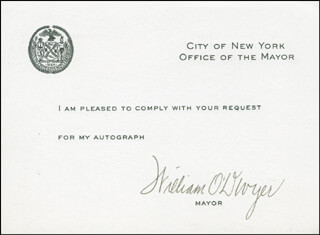 MAYOR WILLIAM O'DWYER - PRINTED CARD SIGNED IN INK