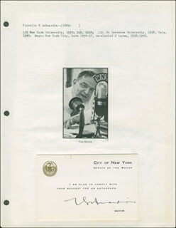 MAYOR FIORELLO LAGUARDIA - PRINTED CARD SIGNED IN INK
