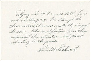Autographs: MAJOR GENERAL ROBERT A. RUSHWORTH - AUTOGRAPH NOTE SIGNED