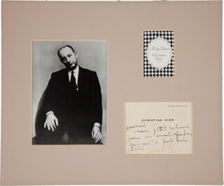 CHRISTIAN DIOR - AUTOGRAPH NOTE SIGNED